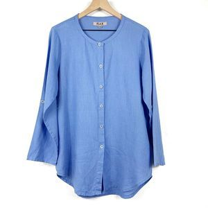 Flax Linen Button Up Long Sleeve Tunic P(0-4)
